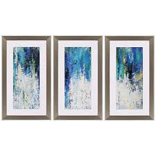 surface 41 high triptych 3 piece framed wall art set on framed blue wall art set with surface 41 high triptych 3 piece framed wall art set 1n178