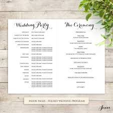 Wedding Ceremony Brochure Wedding Program Template Free Template Business