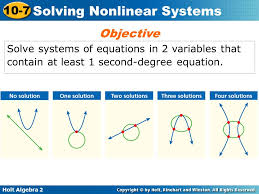 1 objective solve systems of equations in 2 variables that contain at least 1 second degree equation