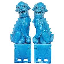 pair of hollywood regency 1950s turquoise foo dogs for