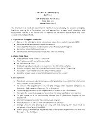 On Job Training Objectives On The Job Training Resume Sample Personal Trainer Resume Sample