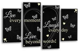 black cream live love laugh canvas wall art picture print multi panel  on black and cream wall art uk with live love laugh canvas wall art