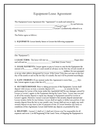 sample of contracts equipment rental form template contract to hire agreement