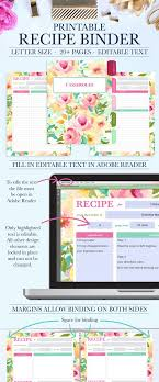 printable recipe binder kit personalized family recipe binder recipe pages recipe organizer editable text instant pdf