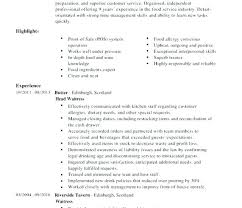 Restaurant Waiter Resumes Waitress Example Resume Restaurant Server Experience Resume Examples