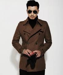 brown 2016 new autumn winter double ted wool coat men fit slim mens pea coat woolen fashion handsome coats cashmere