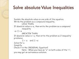 1 solve absolute value inequalities