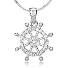 925 sterling silver cubic zirconia cz nautical navy sailor ship wheel symbol pendant necklace 18 necklaces