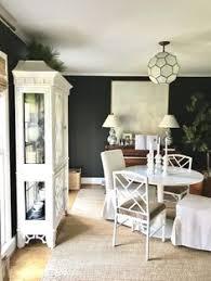 black dining room greenery