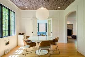 view in gallery design of the dining room puts the focus on wallpapered ceiling design sleeping dog