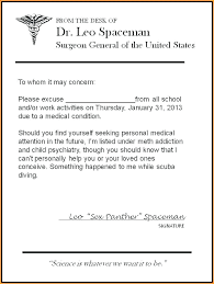 School Excuse Note Template Doctor Excuses For Absences