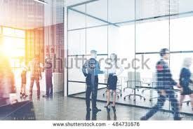 office building interior busy. Perfect Office Busy Office Interior Group Of Colleagues Are Standing Near Reception  Counter Pair People Intended Office Building Interior I