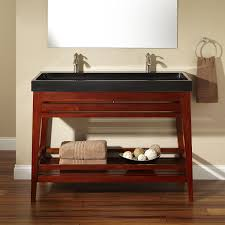 Brown Painted Bathrooms Black Wooden Bath Vanity Trough Sink And Rectangular Black Wooden