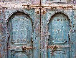 marrakech morocco old wooden doors typical in marrakesh
