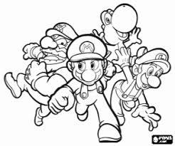 Kleurplaat Wario Mario Yoshi En Luigi Kleurplaten