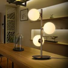 contemporary triple light milky white glass shade table lamp with metal round base