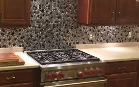 black and silver river rock pattern mosaic stainless steel copper slate tile kitchen backsplash