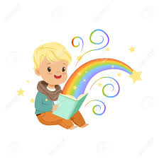 adorable little boy reading magic book with fairy tales cartoon baby character children s