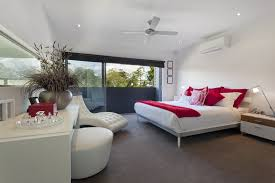 modern bedroom red. Modern Bedroom View Red White Bed Theme