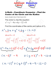 a math coordinate geometry find the centre of the circle and the radius