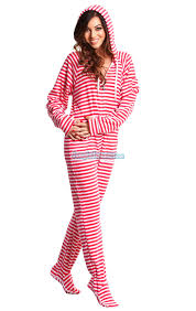 Pink Candy Stripes - Adult Hoodie Footie pajamas | My Sleep Number ...