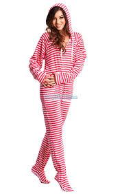 Pink Candy Stripes - Adult Hoodie Footie pajamas | My Sleep Number ...