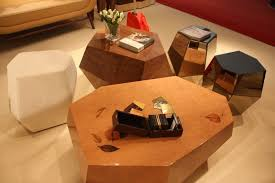 wooden coffee tables by insideherland are randomly geometric and stunningly beautiful the marquetry work is