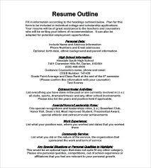 Sample Resume Forms Sample Resume Outline Best Sample Resume Format