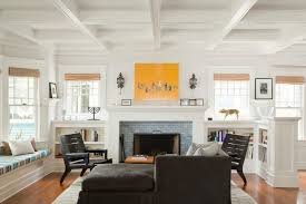 fireplace tile ideas living room beach style with fire place tete a tete blue brick fireplace
