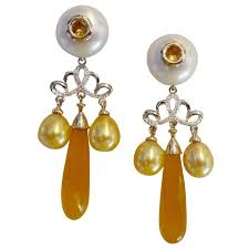 michael kneebone golden chalcedony yellow sapphire pearl diamond dangle earrings for