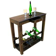 Highvale Antique Brass Inlay Solid Wood Wine Rack Console Table