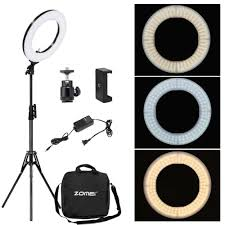 ZOMEI <b>Dimmable LED Studio</b> Selfie Ring Light Photographic ...