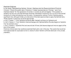 feminist criticism in her essay representing ophelia w  1 feminist criticism in her essay