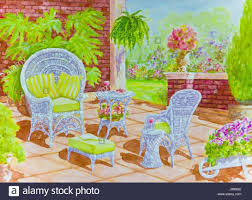 yellow patio furniture. Yellow Wicker Chairs A Tall White Chair With Cushions And Footstool Sits On Brick Walled Patio In Watercolor Painting Furniture C