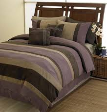 plum chocolate and camel jacaranda striped microsuede 6 pc luxury duvet cover bedding set only 50 40
