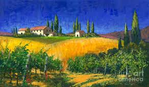 g vines painting tuscan evening by michael swanson