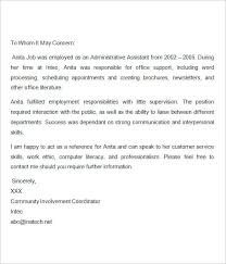 Letter Recommendation Sample Example Of A For Job Employment