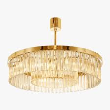 small double drum chandelier clear polished gold