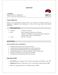 Objectives Of Resume For Freshers Best of Harish Resume Linux Fresher