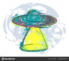 Ufo Loď šplouchání Akvarelu Stylu Neidentifikovaný Létající Objekt