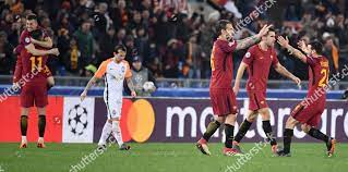 Romas players celebrate after winning UEFA Champions Editorial Stock Photo  - Stock Image