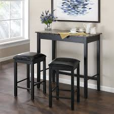 dining table with bar stools intended for dorel living devyn 3 piece faux marble pub set black designs 1