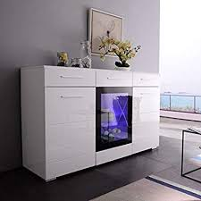 white buffet cabinet. Simple Cabinet Mecor LED Sideboard Buffet Cabinet Server Table Storage 3 Door2  DrawersKitchen Dining Inside White D