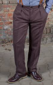 Rumble59 Vintage Slim Fit Pants Pasadena Herringbone Brownblue