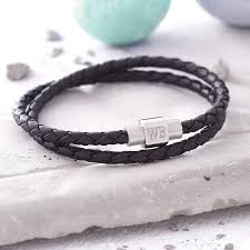 mens personalised clasp double leather bracelet