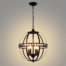 industrial orb chandelier 4 light with metal cage in black takeluckhome com