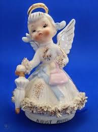 Vintage Lefton August Birthday Angel Ceramic Figurine W Umbrella AR1987  Pigtails | #552515858