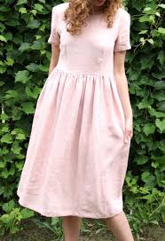 Light Pink Linen Dress Blush Pink Linen Dress Etsy Clothed With Love Womens
