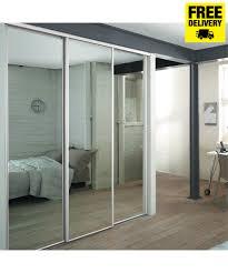 3 white frame mirror sliding wardrobe doors with storage