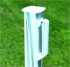 white fence post. Cementing Fence Posts Temporary In White Post Made From Reinforced Polypropylene Electric